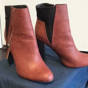 Women's multi colored wedge ankle boots.